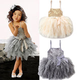 Kids Girls Sequin Lace Tulle Bowknot Tutu Dress Summer Wedding Pageant Princess Party Dresses - thefashionique