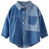 Kids Girls Shirts 2019 Autumn Long Sleeve Denim Splice Blouses for Girls Fashion Big Girl Tops Fall Teenage Clothes 6 8 10 12 14