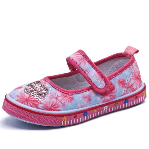 Kids Hook & Loop Floral Shoes Girls Casual Flat Shoes Children Summer Breathable Shoes - thefashionique