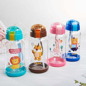 Kids Outdoor Tumbler Children Cartoon Animal School Drinking Water Straw Bottle Sippy Baby Cup with Hand Strap 600ml
