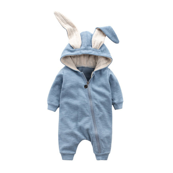 Kids Warm Long Sleeve Bunny Style Pajamas Infant Cotton Zipper Jumpsuits Baby Newborn Rabbit Cosplay Outfit Toddler Hooded Cloth - thefashionique