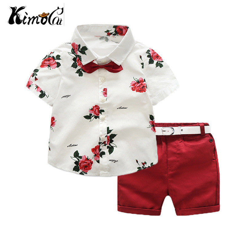 Kimocat Summer Boys Clothing Sets Children Clothing Set Kids Boy Clothes Flower Tie Shirts+Shorts 2PCS Gentleman Suit With Tie - thefashionique