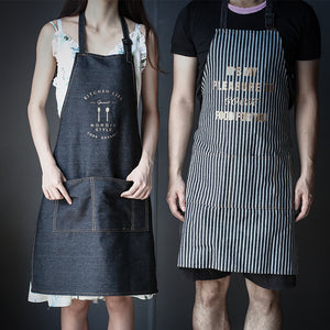 Kitchen Lady Women Denim Apron Adjustable Anti-Staining Cafe Uniform Nordic Black Apron For Cooking Baking Restaurant Pinafore - thefashionique