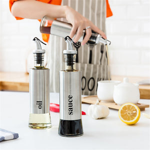 Kitchen Stainless Steel Glass Squeeze Bottle Condiment Dispenser For Oil Sauce Vinegar Ketchup Kitchen Tool Accessories 1pcs - thefashionique