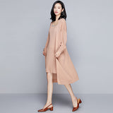 Knitted Suits Women Two Pieces Set Coat+Dress 80% Viscose Blended Long Coat Sleeveless Dress Simple Design Elegant Style 2018 - thefashionique