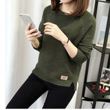 Knitted Sweater And Pullover For Women 2017 Autumn Winter O-Neck Full Sleeve Solid Casual Keep Warm Knitwear Female Cotton Coat - thefashionique