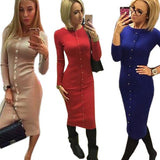 Knitting  Midi Dress 2018 Warm Women Knitted Mid-calf O-neck Dresses Package Hip Sheath Bodycon Dress With Buttons LX062 - thefashionique