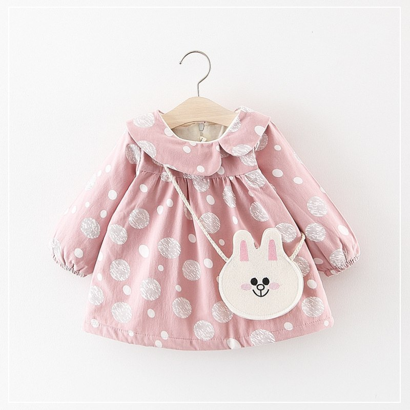 Korean Cute Dot Baby Girl Dress Long Sleeve Fleece Warm Turn-down Collar Newborn Princess Birthday Dresses For Girls Clothes 24M - thefashionique