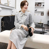 Korean Style Dress Women Spring 2019 Chiffon Long Sleeve Bow Tie Foral Printed Elastic Waist Dresses Split Loose Trend Vestidos - thefashionique