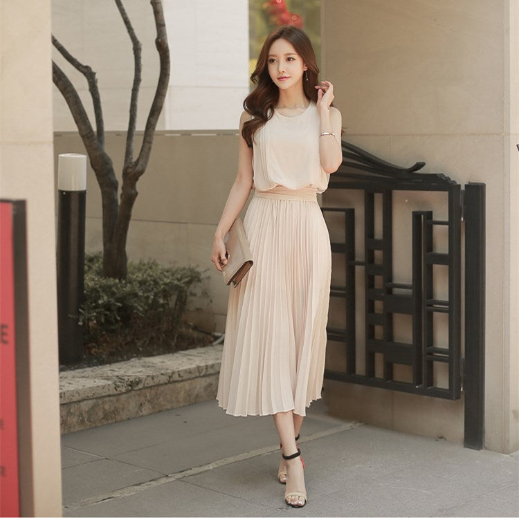 212affd35c4e5 Korean Vintage Sleeveless Pleated Dresses 2018 Clobee Women Summer Dre