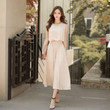 Korean Vintage Sleeveless Pleated Dresses 2018 Clobee Women Summer Dress Solid Retro Office Wear Bandage Chiffon Dresses HJ84 - thefashionique