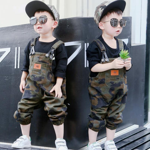 Korean style baby boys Camouflage print jumpsuit children Unisex baby loose fashion spring summer new overalls Rompers ws397