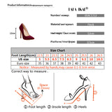 LALA IKAI Pumps Women Shoes Red Flock Slip-On Shallow Wedding Party Thin Heels Pointed Toe Woman High Heels Pump 900C1722 -4 - thefashionique