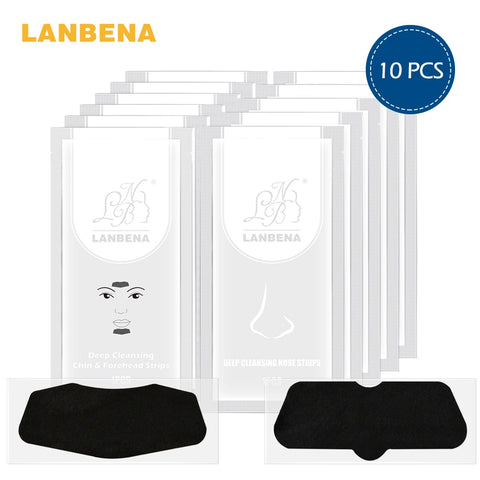 LANBENA Blackhead Remover Nose Mask+Chin Forehead Black Head Mask Acne Treatment Pore Strip Black Mask Peeling Skin Care 10 PCS