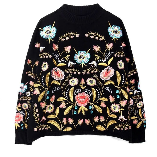LANMREM 2018 Round Collar Flowers Embroidery Top Loose Korean AutumnAutumn Long Sleeve Woman's New Fashion Sweater FA50001 - thefashionique