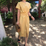 LANMREM 2018 Summer  New Solid Color Loose Round Neck Natural Waist Vintage Split The Fork Fashion Women Dress E4100 - thefashionique