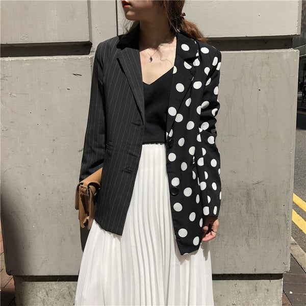 Lanmrem 2018 Korean Girl S Clothes Single Breasted Striped Full Sleeve Turn Down Collar Split Joint Loose Coat Polka Dots Wb720 Thefashionique