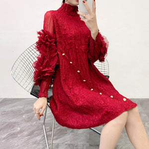 LANMREM  high quality pleated dress women 2020 spring summer new patchwork mesh Hubble-bubble Sleeve Dress stand collar YH688