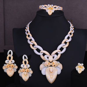 LARRAURI 2020 Luxury Wheat Leaf Dubai Gold Jewelry Set Nigerian Wedding African Beads Bridal Jewellery Set Cubic Zircon Jewelry