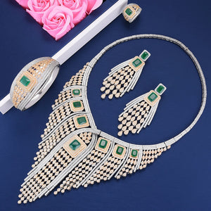 LARRAURI Long Drop Statement Tassel Necklace Earring Bangle Ring Cubic Zirconia Women Bridal Dubai Jewelry Sets Jewellery Addict