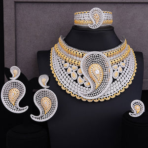 LARRAURI Luxury Climber Flower Women Nigerian Bridal Naija Bride Cubic Zirconia Necklace Dubai 4PCS Jewelry Set Jewellery