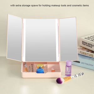 LED Folding Dimmable Desktop Cosmetic Makeup Mirror USB Charging with Container Make up Tool - thefashionique