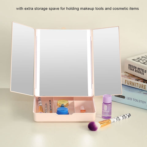 LED Folding Dimmable Desktop Cosmetic Makeup Mirror USB Charging with Container Make up Tool
