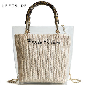 LEFTSIDE Summer 2018 Small Handbag Transparent Women Hand Bags Chain Straw bag Lady Travel Beach Shoulder Cross Body Bag Holiday - thefashionique