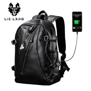 LIELANG Men Backpack External USB Charge Waterproof  Backpack Fashion PU Leather Travel Bag Casual School Bag For Teenagers - thefashionique