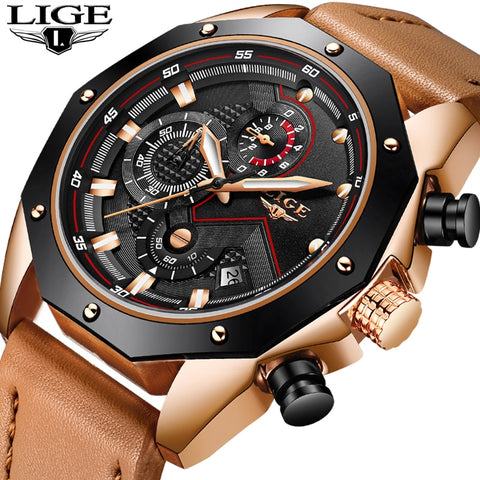 LIGE Mens Watches Top Brand Luxury Quartz Watch Fashion Waterproof Dress Womens Watch Waterproof Couple Clock Relogio Masculino