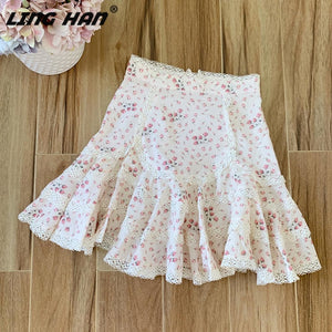 LINGHAN Designer Spring Summer Fashion 2020 Skirt Women High-end Flower Print Lace Cotton Mini Skirts Elegant Holiday New