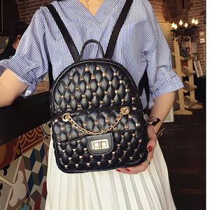 LISM 2019 new hot youth campus style backpack high quality luxury rivet fashion travel bag street trend chain accessories - thefashionique