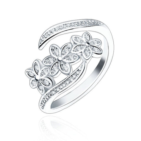 LNRRABC Elegant Flowers Finger Rings Stainless Steel Rings For Women Crystal Ring Fashion Jewelry Wholesale Dropshipping - thefashionique