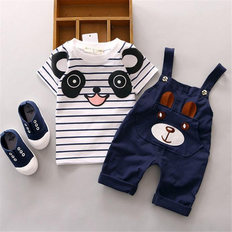 LONSANT Hot Selling 2018 Summer Toddler Straps Set Baby Boy Little Bear Stripe Short-Sleeve Boys Clothing Set - thefashionique