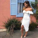 LOSSKY 2018 Double Ruffle Slash Neck Summer Dress Boho Style Women Dress Off Shoulder Butterfly Sleeve Slim Split Party Dresses - thefashionique