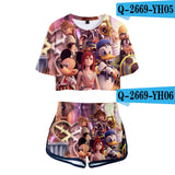 LUCKYFRIDAYF Crop Top 2018 kingdom hearts 3D Pop Summer Soft Shorts And T-shirts Women Two Piece Sets Cool Print Clothes - thefashionique