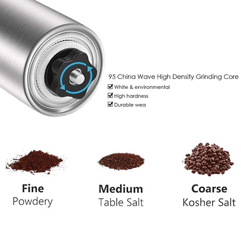 LUCOG Portable Manual Coffee Grinder Stainless Steel Ceramic Conical Burr Hand Coffee Machine Grinder Christmas Gift - thefashionique
