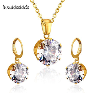 LUXUKISSKIDS Luxury Gold Color Bridal Jewelry Sets & More for Women Wedding with High Quality AAA Zircon - thefashionique