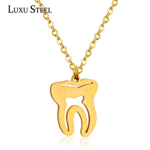 LUXUSTEEL Stainless Steel Gold/Silver Tooth Pendants & Necklaces Body Medical Jewelry For Women/Men Fashion Chain Necklace Gift - thefashionique