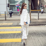 LXMSTH 2018 Spring White Two Piece Pants Suit Women Slim Fashion Runway Feather Tassel Blazer Coat Pants Set High Quality - thefashionique