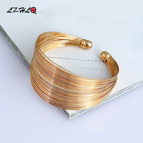 LZHLQ Multilayer Metal Wire Cuff Bangle Women 2017 Fashion Brand Jewelry Accessories Geometric Opened Maxi Punk Bangle Bracelet - thefashionique