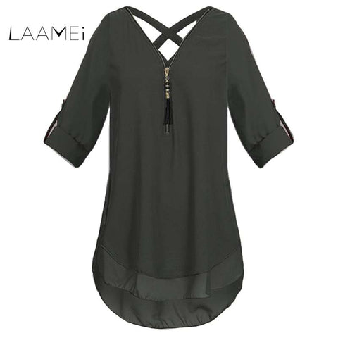 58848786662 Laamei 2018 Summer Fashion Zipper V Neck Chiffon Blouse Shirts Women Sexy  Back Cross Solid Color