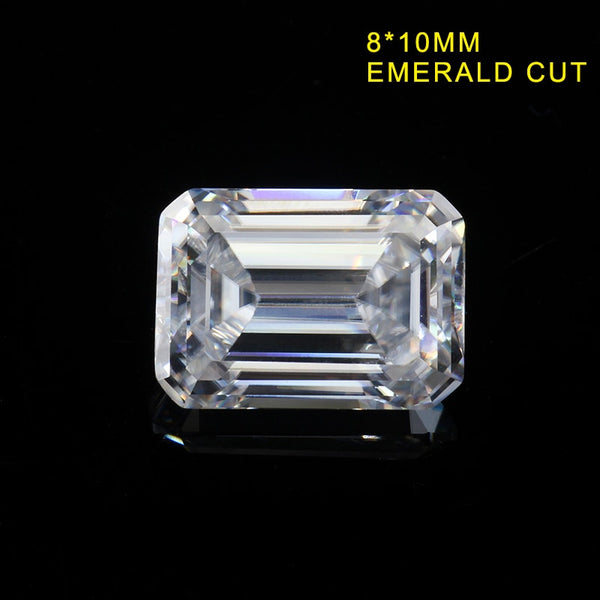 Lab-created moissanites EF white 8*10mm Emerald cut moissanites loose gemstone for solitaire rings jewelry making - thefashionique