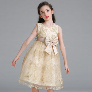 Lace Flower Girls Dresses Floral Pattern Princess Birthday Party Costumes Dress For Girls European American Fashion Clothing