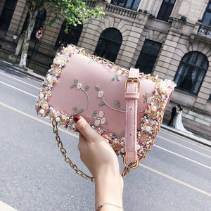 Lace Flowers Women bag 2018 New handbag High quality PU Leather Sweet Girl Square bag Flower Pearl Chain Shoulder Messenger Bag - thefashionique