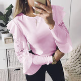 Lace Patchwork Blouse Elegant Work Ruffle Blusas Mujer Long Sleeve Women Tops Casual Ladies Shirt WS5317X - thefashionique