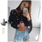 Lace Up Hollow Out Hoodies Women Sexy deep V Neck Metal Hole Pullovers Sweatshirt Autumn cropped hoodie black Jumpers - thefashionique