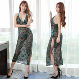 Ladies Elegant Sexy Autumn Women Dress solid Spaghetti Strap Strapless Sleeveless Nightdress transparent Home Clothing - thefashionique