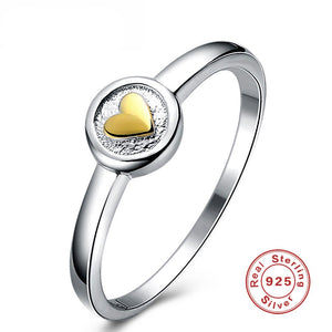 Ladies Rings For Women Sterling S925 Silver Round & Heart Stone Fine Classic Jewelry Bride Wedding Engagement Ring Cincin Wanita - thefashionique