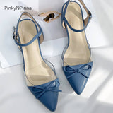 Ladies blue sandals pointed toe chunk low heels bow tied sheepskin insole casual office women summer shoes plus size 43 42 41 40 - thefashionique
